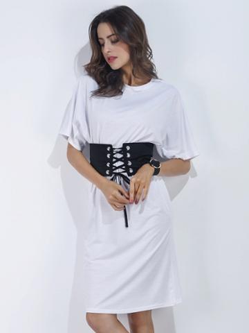 Choies White Short Sleeve Corset Belt T-shirt Dress
