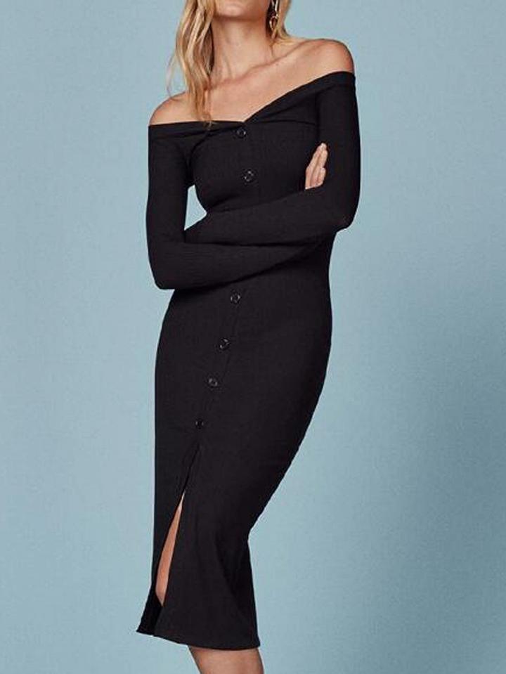 Choies Black Off Shoulder Button Front Long Sleeve Knit Dress