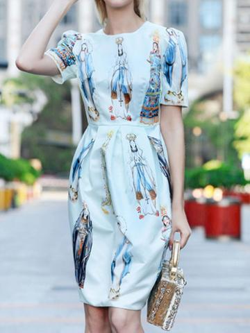 Choies White Godness Print Ruched Detail Women Dress