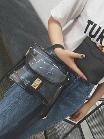 Choies Black Transparent Cross Body Bag