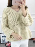 Choies White V-neck Chunky Knit Sweater