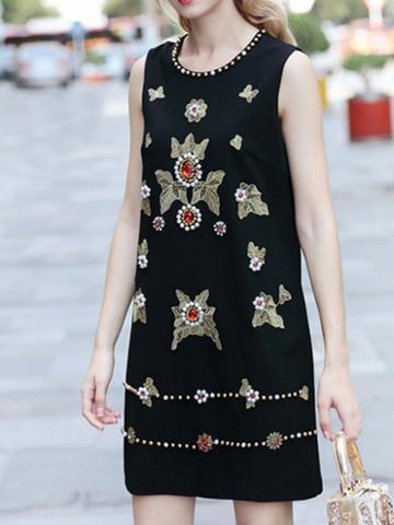 Choies Black Embroidery And Beaded Detail Sleeveless Women Mini Dress