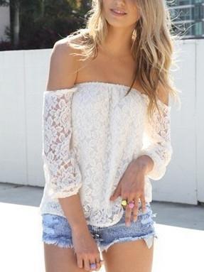Choies White Lace Off Shoulder Blouse