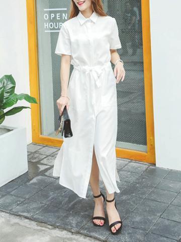 Choies White Tie Waist Short Sleeve Maxi Shirt Dress