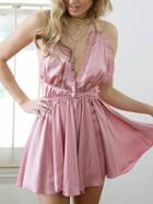 Choies Pink Plunge Cross Back Frill Trim Romper Playsuit