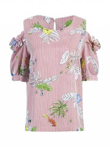 Choies Red Striped Cold Shoulder Floral Print Frill Detail Top