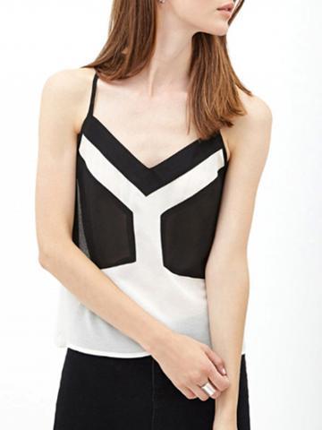 Choies Color Block V-neck Adjustable Strap Cami Top