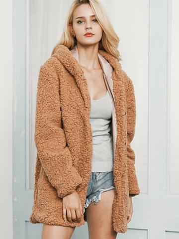 Choies Camel Faux Shearling Hooded Coat