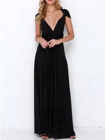 Choies Black Polyester V-neck Open Back Cocktail Women Maxi Dress