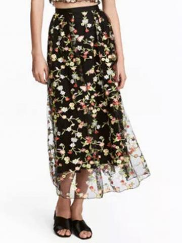 Choies Black High Waist Embroidery Floral Mesh Midi Skirt