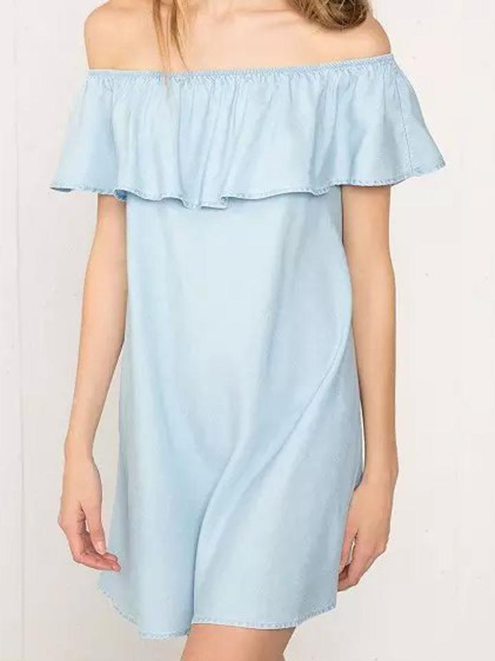 Choies Blue Off Shoulder Ruffle Denim Shift Dress