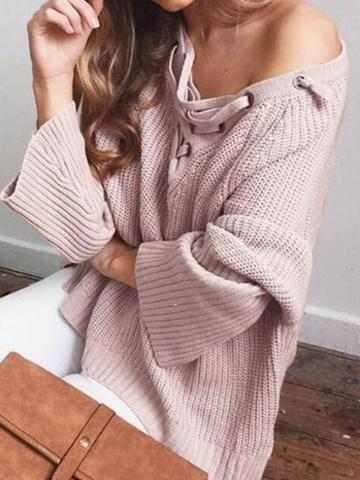 Choies Pink V-neck Eyelet Lace Up Front Long Sleeve Chic Women Knit Sweater