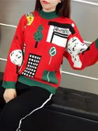 Choies Red Long Sleeve Chunky Ugly Sweater