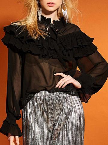 Choies Black Ruffle Trim Tie Front Long Sleeve Blouse