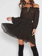 Choies Black Off Shoulder Floral Print Lace Up Front Long Sleeve Dress