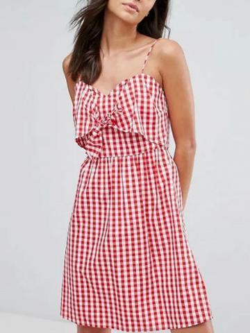 Choies Red Plaid V-neck Knot Front Stretch Back Spaghetti Strap Dress