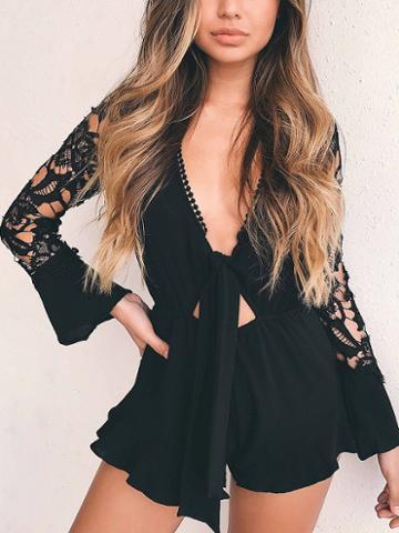 Choies Black Plunge Tie Front Lace Panel Ruffle Hem Romper Playsuit