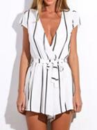 Choies White Plunge Stripe Tie Waist Cap Sleeve Romper Playsuit