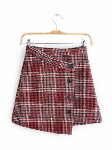 Choies Red Houndstooth Print High Waist Button Placket Front Mini Skirt