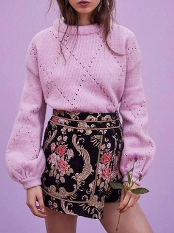 Choies Pink Cotton Crew Neck Cut Out Detail Puff Sleeve Women Sweater