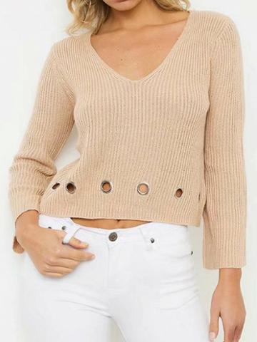 Choies Khaki V-neck Eyelet Detail Long Sleeve Chic Women Knit Sweater