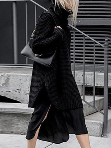 Choies Black High Neck Chunky Longline Sweater