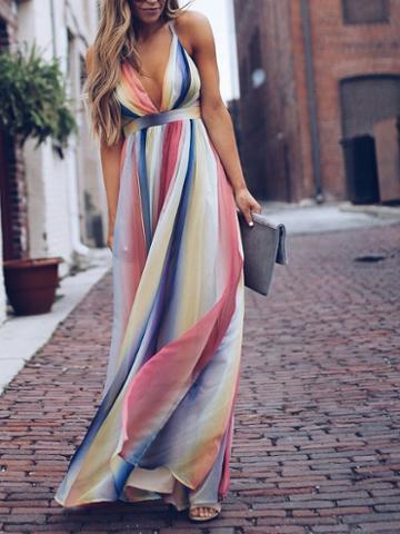 Choies Multicolor Stripe Cotton Plunge Open Back Chic Women Cami Maxi Dress