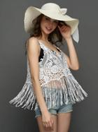Choies White V-neck Tassel Detail Sheer Lace Vest