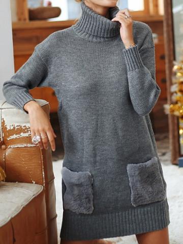 Choies Gray High Neck Long Sleeve Women Knit Mini Dress