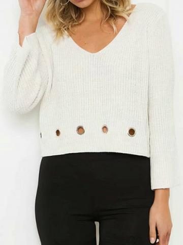 Choies White V-neck Eyelet Detail Long Sleeve Chic Women Knit Sweater
