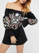 Choies Black Off Shoulder Embroidery Floral Shift Mini Dress