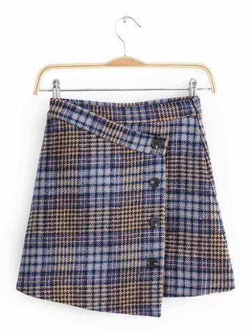 Choies Blue Houndstooth Print High Waist Button Placket Front Mini Skirt