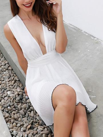 Choies White Chiffon Plunge Cross Strap Back Chic Women Mini Dress