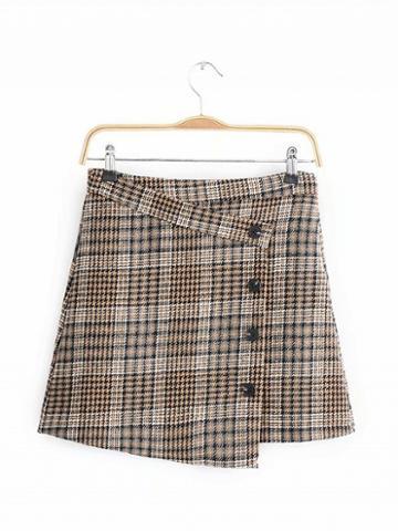 Choies Khaki Houndstooth Print High Waist Button Placket Front Mini Skirt