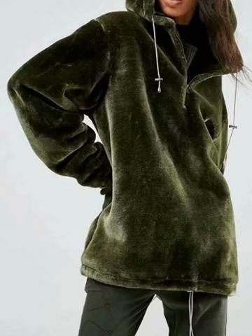 Choies Army Green Zip Front Long Sleeve Women Velvet Hoodie