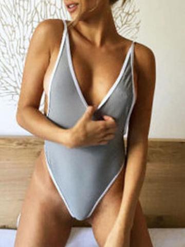 Choies Gray Open Back Swimsuit