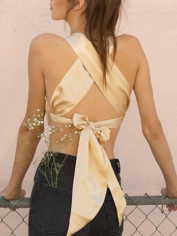 Choies Khaki V-neck Back Cross Crop Top
