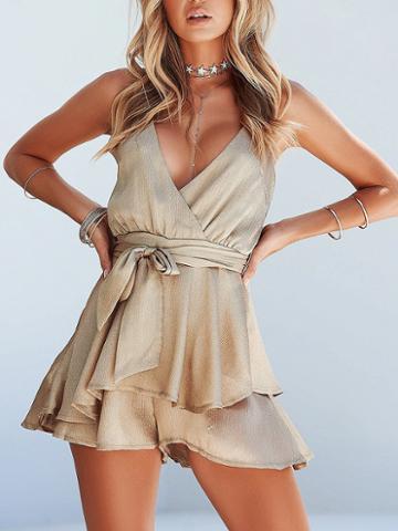 Choies Gold V-neck Tie Waist Sleeveless Chic Women Romper Playsuit