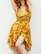 Choies Multicolor V-neck Floral Backless Asymmetric Hem Romper Playsuit
