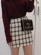 Choies Black Plaid Pencil Mini Skirt