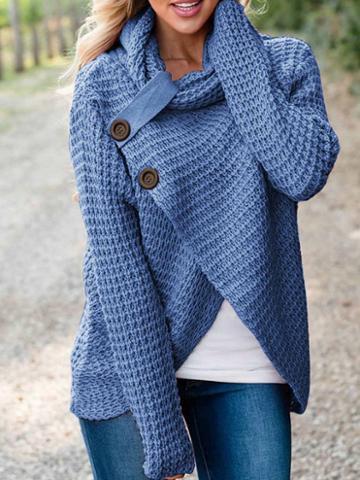 Choies Blue High Neck Asymmetric Hem Long Sleeve Women Sweater