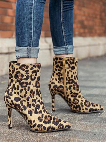 Choies Leopard Pointed Ankle Boots