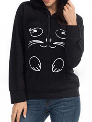 Choies Black Cat Print Long Sleeve Women Cat Ear Hoodie