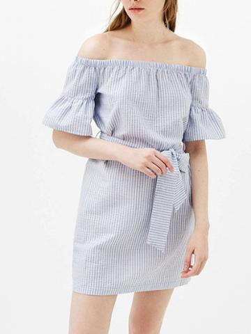 Choies Blue Stripe Off Shoulder Tie Waist Flared Sleeve Mini Dress