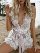 Choies White Plunge V-neck Strappy Backless Tie Waist Lace Romper Playsuit