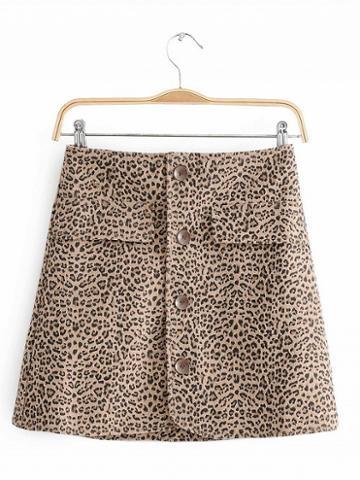 Choies Khaki High Waist Leopard Print Button Placket Front Mini Skirt