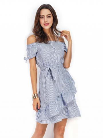 Choies Blue Stripe Off Shoulder Tie Waist Ruffle Cami Dress
