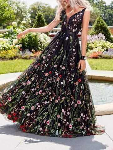 Choies Black V-neck Floral Print Open Back Women Cami Maxi Dress