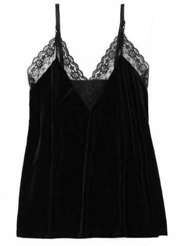 Choies Black Velvet V-neck Lace Panel Tank