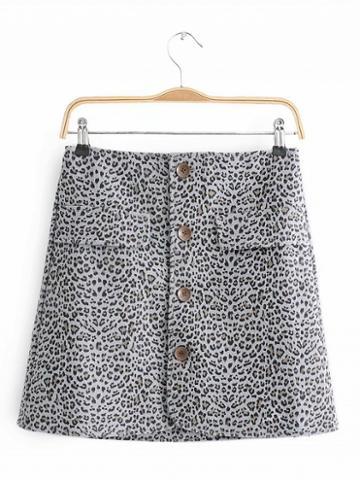 Choies Gray High Waist Leopard Print Button Placket Front Mini Skirt